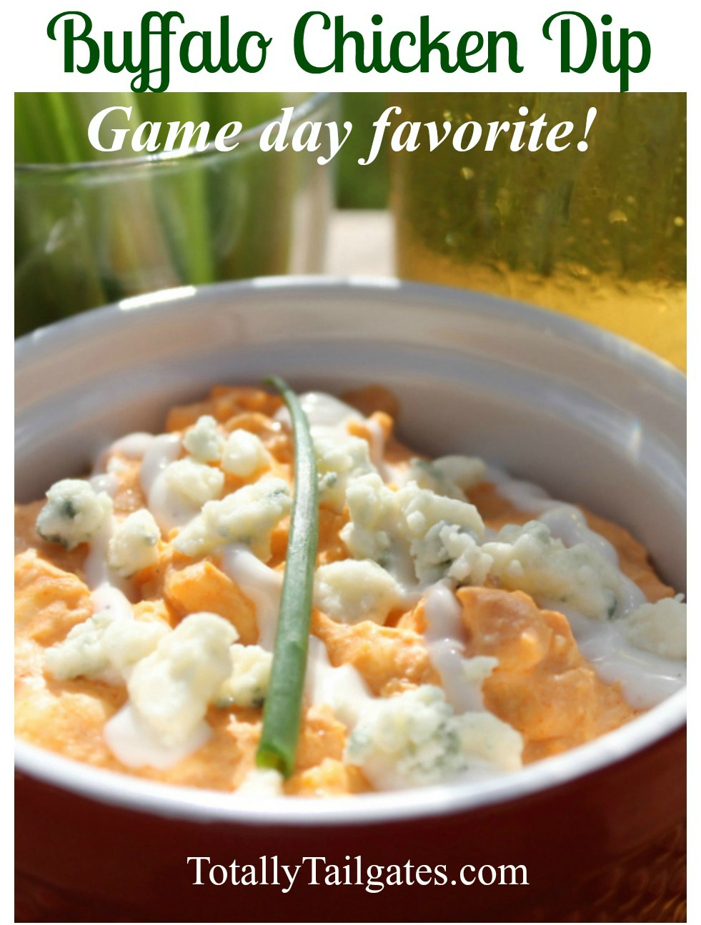 Game day classic appetizer! This Buffalo Chicken Dip recipe is the BEST!