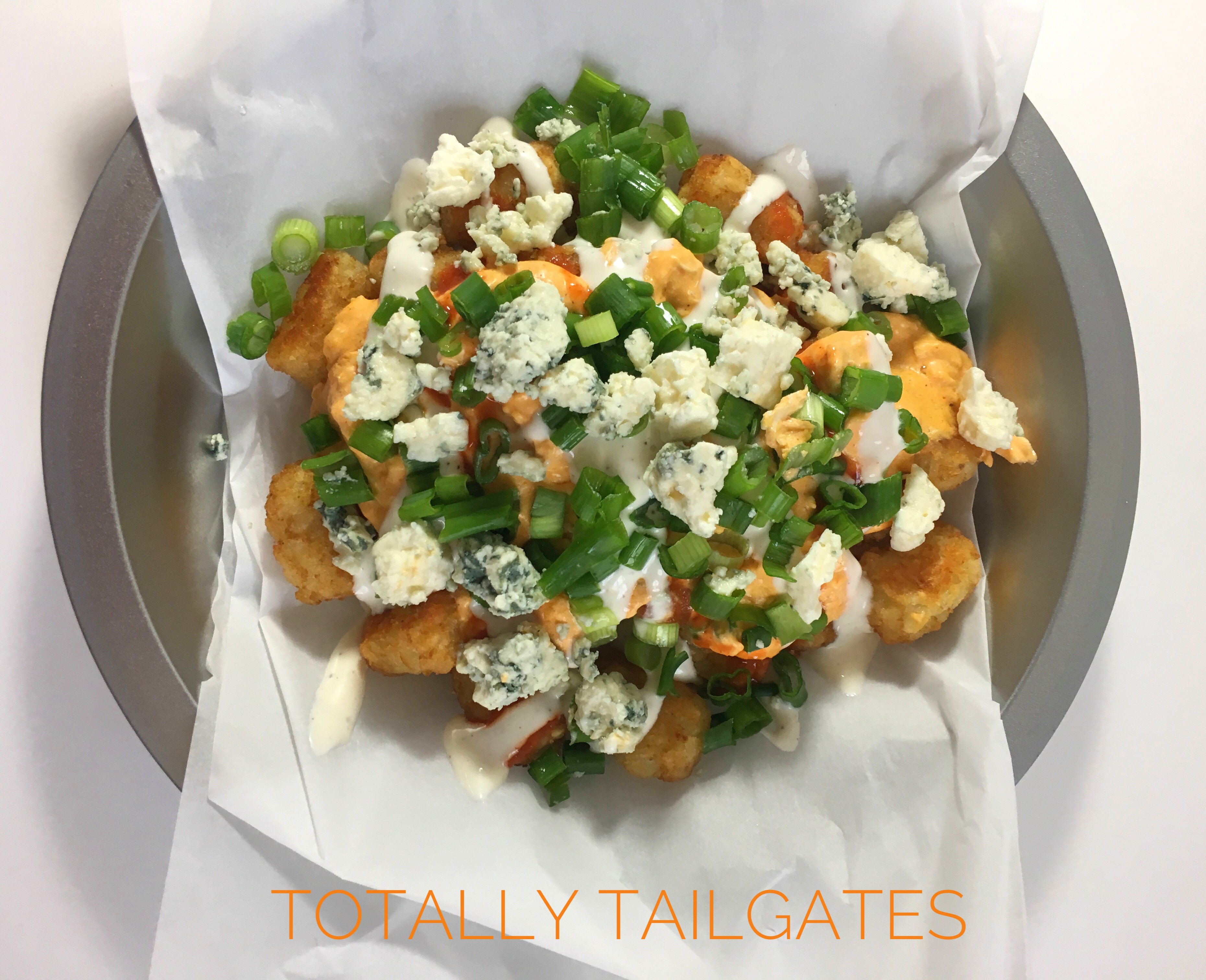 Loaded Buffalo Chicken Tater Tots for tailgate parties- great game day recipe!