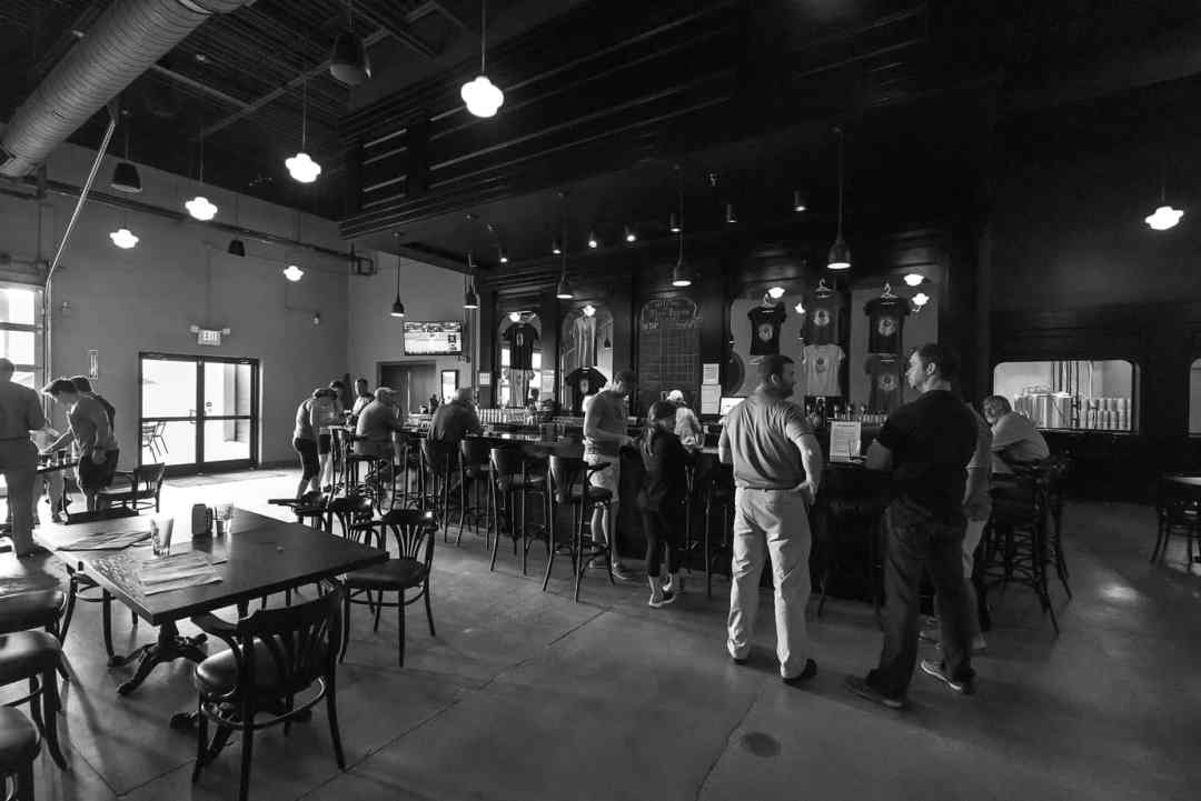 The taproom at Three Spirits Brewery in Charlotte.