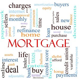 An illustration around the word mortgage with lots of different terms such as rates, interest, home, refinance, house, charges, loan, purcahse, taxes, bank, lender, debt, payments, finance, amortization and a lot more.