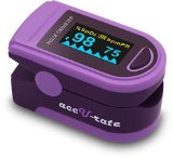 Acc U Rate CMS 500D Generation 2 Fingertip Pulse Oximeter Oximetry Blood Oxygen Saturation Monitor with silicon cover, batteries and lanyard (Royal Purple)