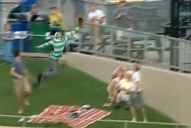 Fan Makes Great Catch on Home Run Ball. Then Crashes Face-First Into a Concrete Wall (Video) | Total Pro Sports