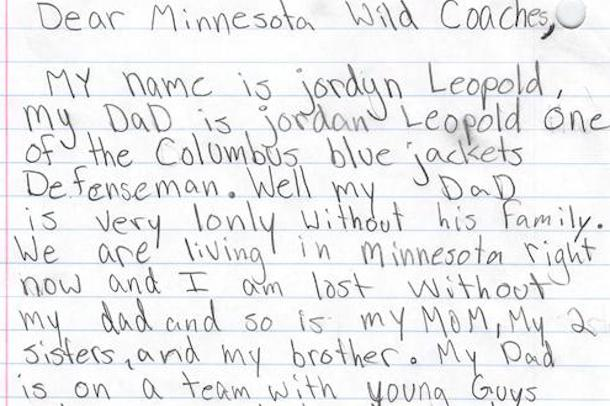 Jordan Leopold's Daughter Wrote Adorable Letter to