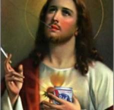 Photo of Blasfemie: Isus Hristos bea bere şi fumează