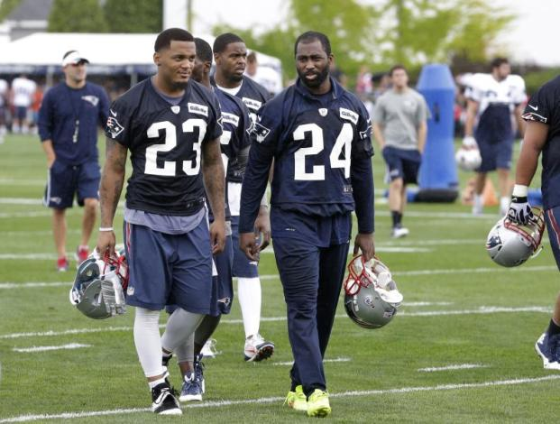 Patrick Chung (23), and cornerback Darrelle Revis (24) are two of the new faces at Patriots camp this year. Photo courtesy of concordmonitor.com