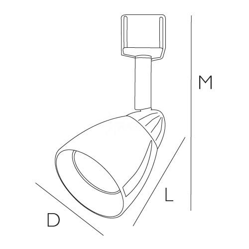 GU10 MR16 BLACK cylinder cone White glass shade track