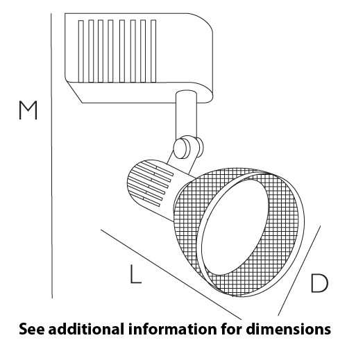 Black wire-back screen shade MR16 low voltage track light