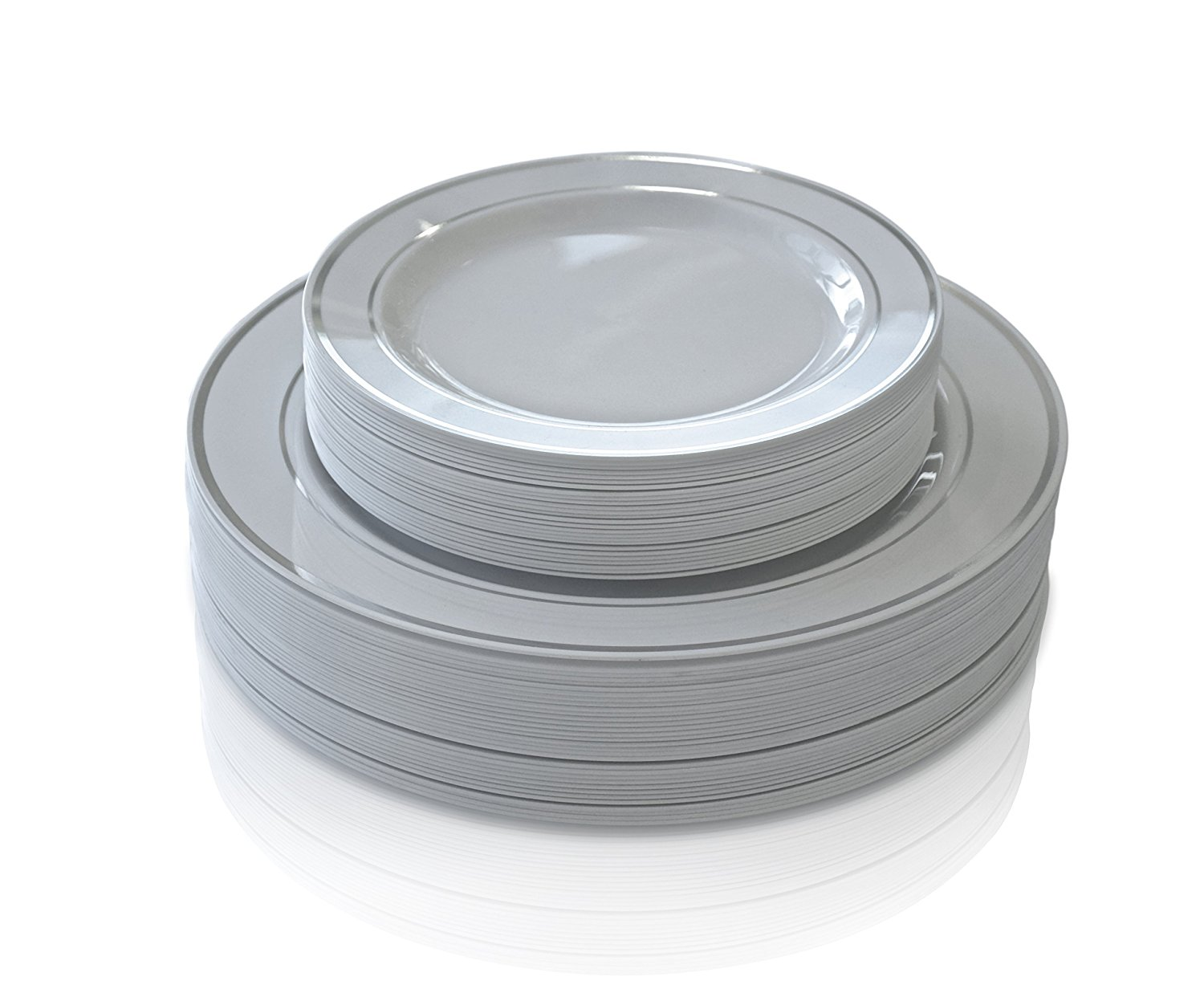 white plastic plates with silver white plastic disposable