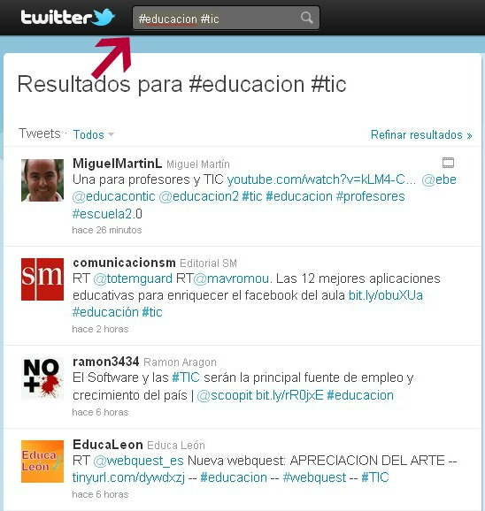 Educacion y TIC en Twitter