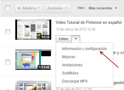 Configurar videos YouTube