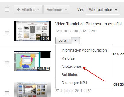 Editor de vídeo Anotaciones en YouTube