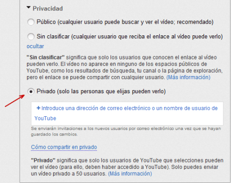 Videos privados en YouTube