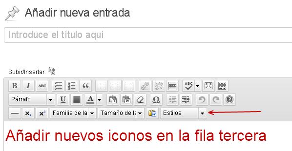 nuevos iconos en editor de entradas wordpress
