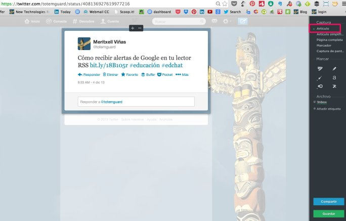capturar un tweet y url con evernote web clipper