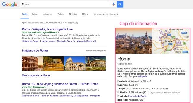 google busqueda caja serp