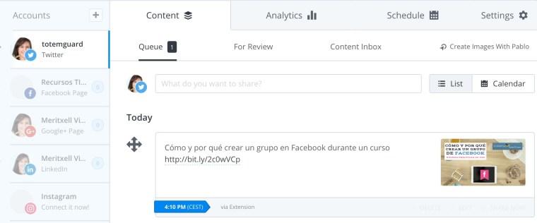 Buffer publicar redes sociales