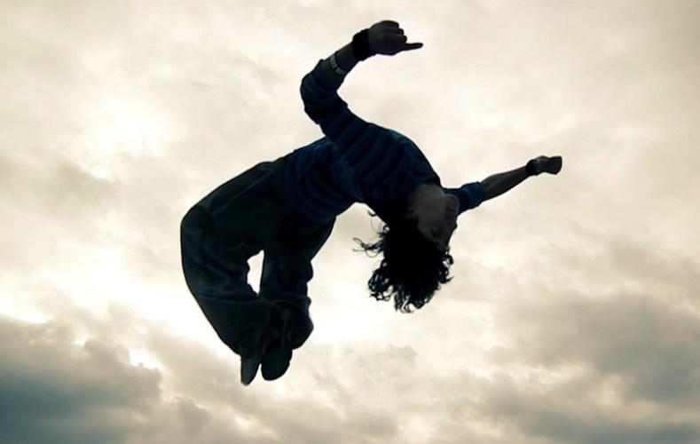 Man performing a back flip