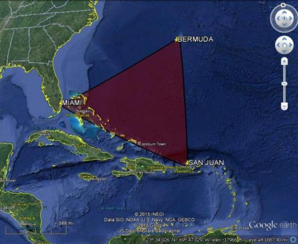 The Bermuda Triangle, a location of mystery and disaster.