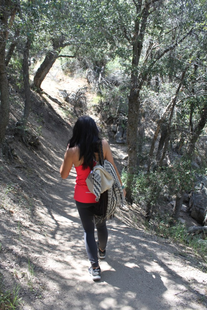 Hiking benefits your heart, mind and body. Hiking trail (Splinters Cabin) leading to Aztec Falls and Devil's Hole in Lake Arrowhead, CA.