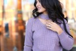 To Thine Own Style Be True | Debbie Savage | ROMWE | Purple Choker V-Neck Sweater