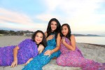 Debbie Savage of To Thine Own Style Be True with her Daughters at Doheney Beach with Shein Textured Fringe Knit Mermaid Blanket
