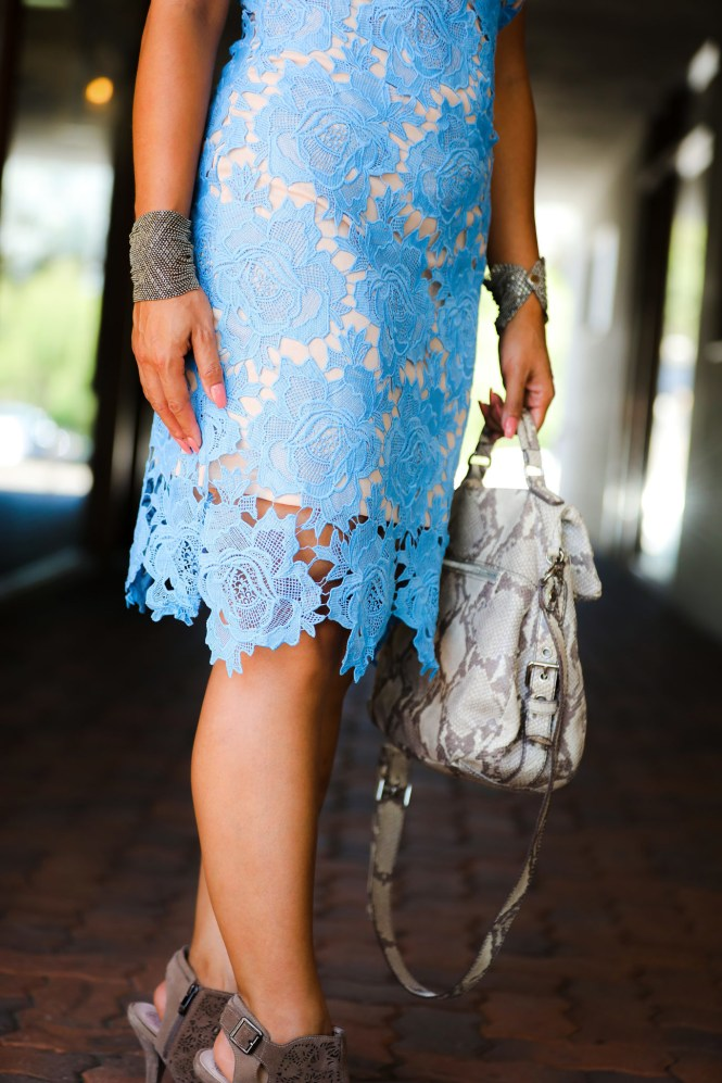 Morning Lavender MAYA BLUE LACE HALTER MIDI DRESS + To Thine Own Style Be True