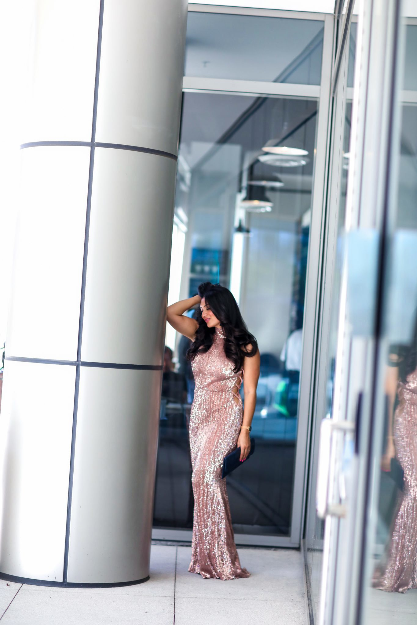 Sequin Maxi Dress. Rose Gold Bodycon Maxi Dress from Pretty Missy - Sequin Maxi Dress. Rose Gold Bodycon Maxi Dress from Pretty Missy by popular Orange County fashion blogger To Thine Own Style Be True