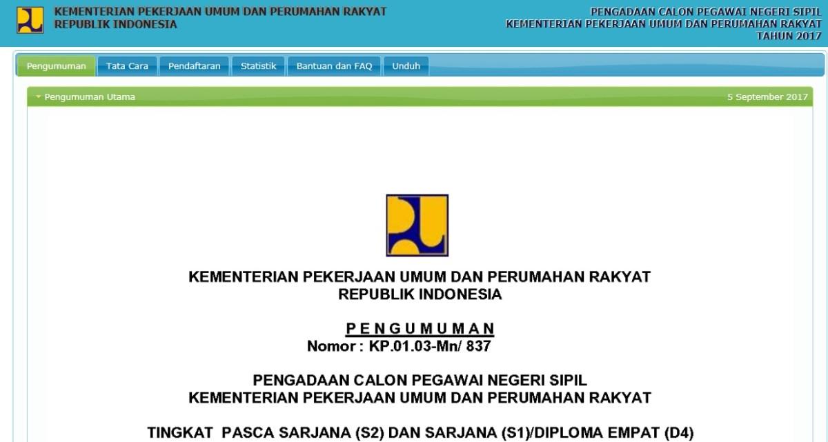 Pengumuman Daftar Nama Lulus Seleksi Administrasi CPNS Pekerjaan Umum PUPR