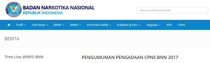 Pengumuman Nama Lulus Hasil Seleksi Administrasi CPNS BNN 2017