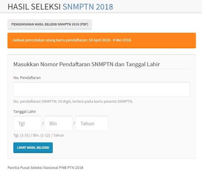 Download Pengumuman Kelulusan dan Hasil Seleksi SNMPTN 2018