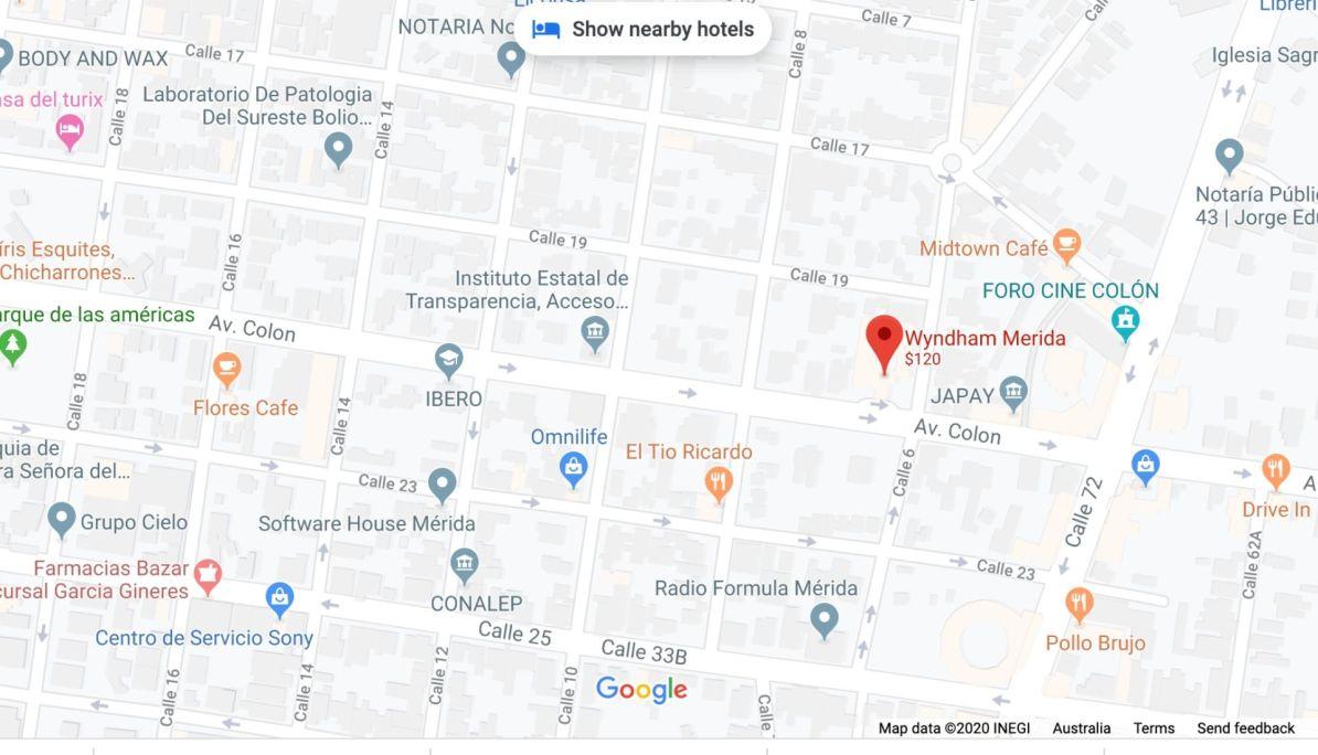 Merida Hotel Map