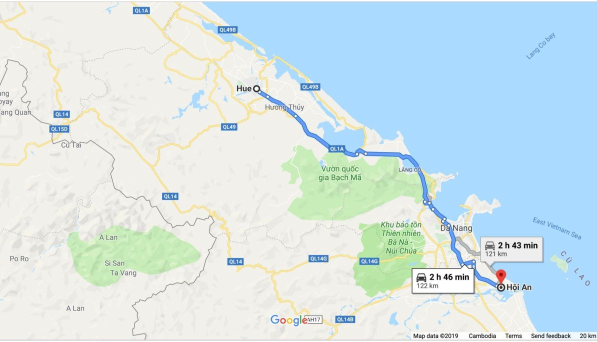 Map of journey from Hue to Hoi An