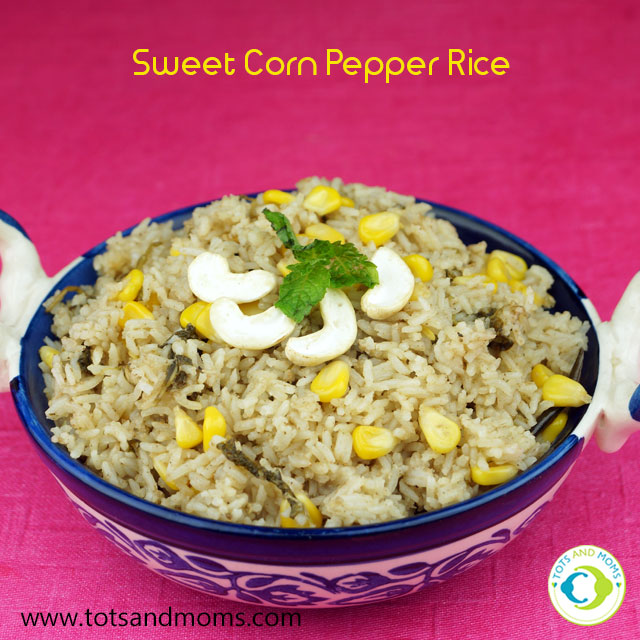 Sweet Corn Pepper Rice recipe for babies, kids