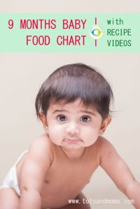 9 MONTHS INDIAN BABY FOOD CHART with Recipe Videos - TOTS ...