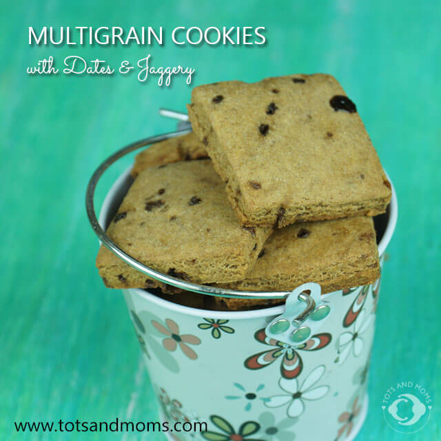 Multigrain Cookies with Jaggery and Dates for Babies, Toddlers and Kids