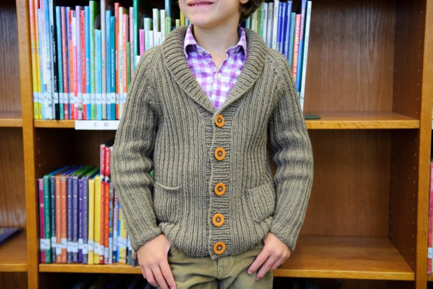 Library Cardigan, project example used in knitting classes