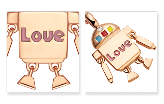 Totwoo robot rose gold necklace