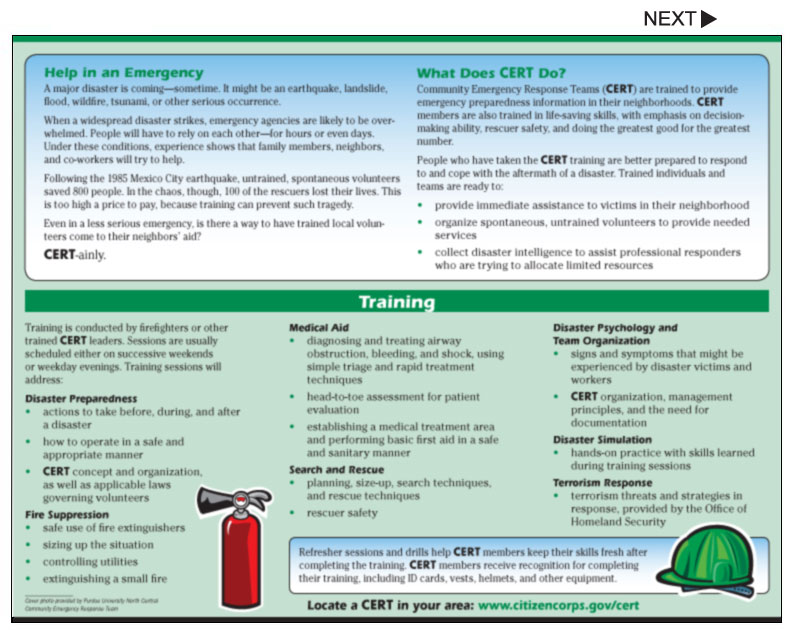 CERT Team Neighborhood And Community Pamphlets