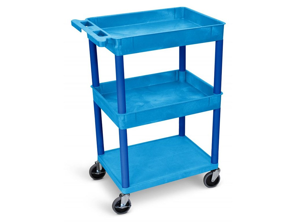 Luxor Bustc112bu Top Middle Tub And Flat Bottom Shelf Cart