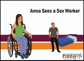 Image of a woman sitting in a wheelchair with a man standing in the background. The Touching Base logo has the outlines of two hands touching. There are two bands of colour across the middle of the image in the background, a mustard colour and a plum colour.