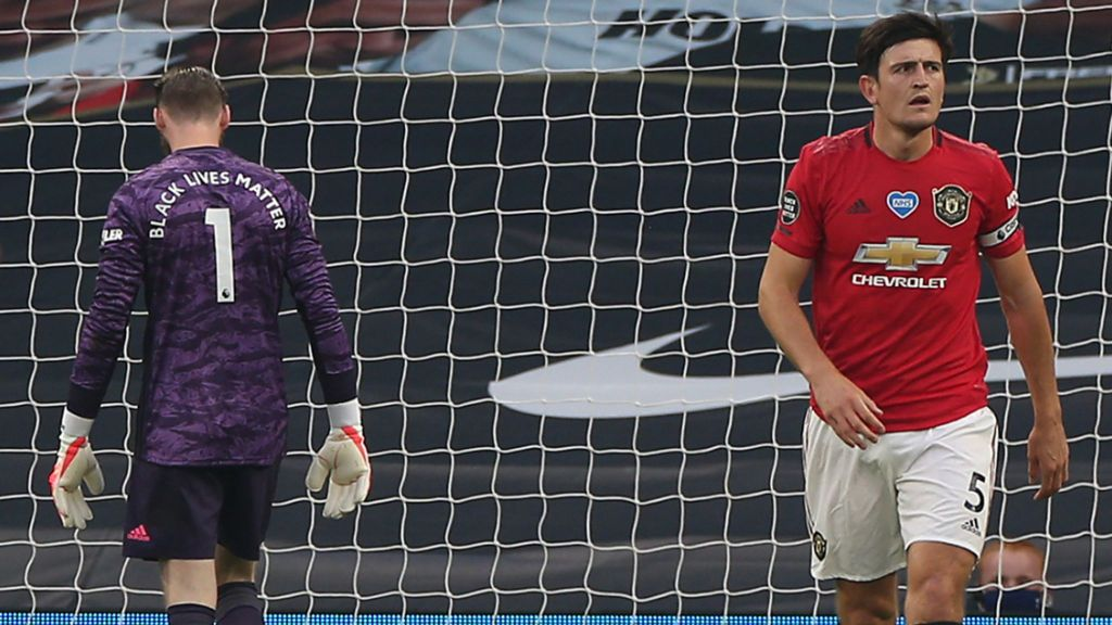 De Gea and Maguire after their collective cock up in the first game after Project Restart