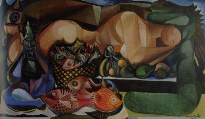 Emiliano di Cavalcanti, Mulher deitada com peixes e frutas (1956)