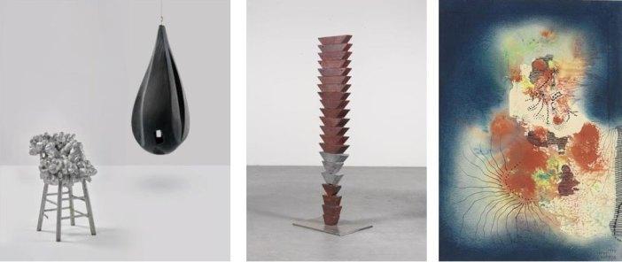 Yayoi Kusama, Chair (1968) e Louise Bourgeois, Lair (1986) | Louise Bourgeois, Untitled (The Wedges), concebida em 1949 e apresentada em 1990 | Yayoi Kusama, The Castle, 1954