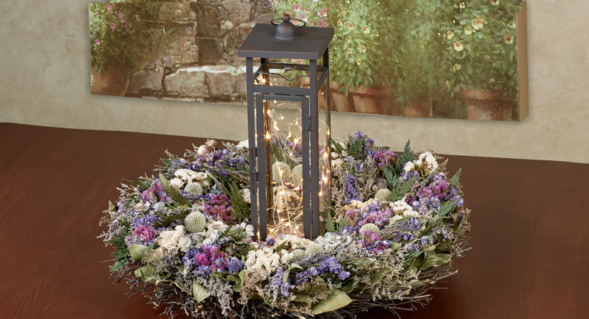 Lantern Sitting in Floral Wreath