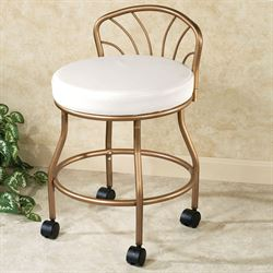 vanity chairs with back ergonomic chair support touch of class flare powder coat champagne bronze casters