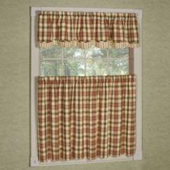 Kitchen Window Valances Paint Color For Curtains Tiers And Valance Treatments Touch Of Class Lemon Pepper Plaid Tier Treatment