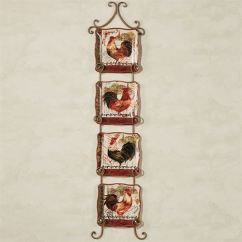 Rooster Kitchen Rugs Wood Toy Tuscan Scalloped Dessert Plate Set