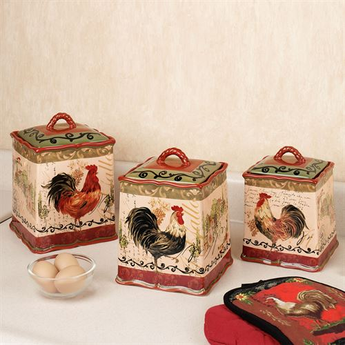 rooster canister sets kitchen paint cabinets tuscan set