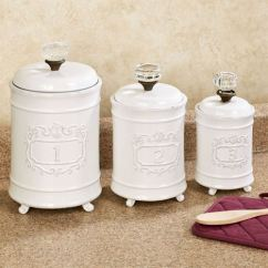 Kitchen Canister Cabinet Lock Circa White Ceramic Set Canisters Of Three