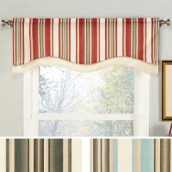 Kitchen Window Valance Sinks And Faucets Maxton Striped Shaped 52 X 17
